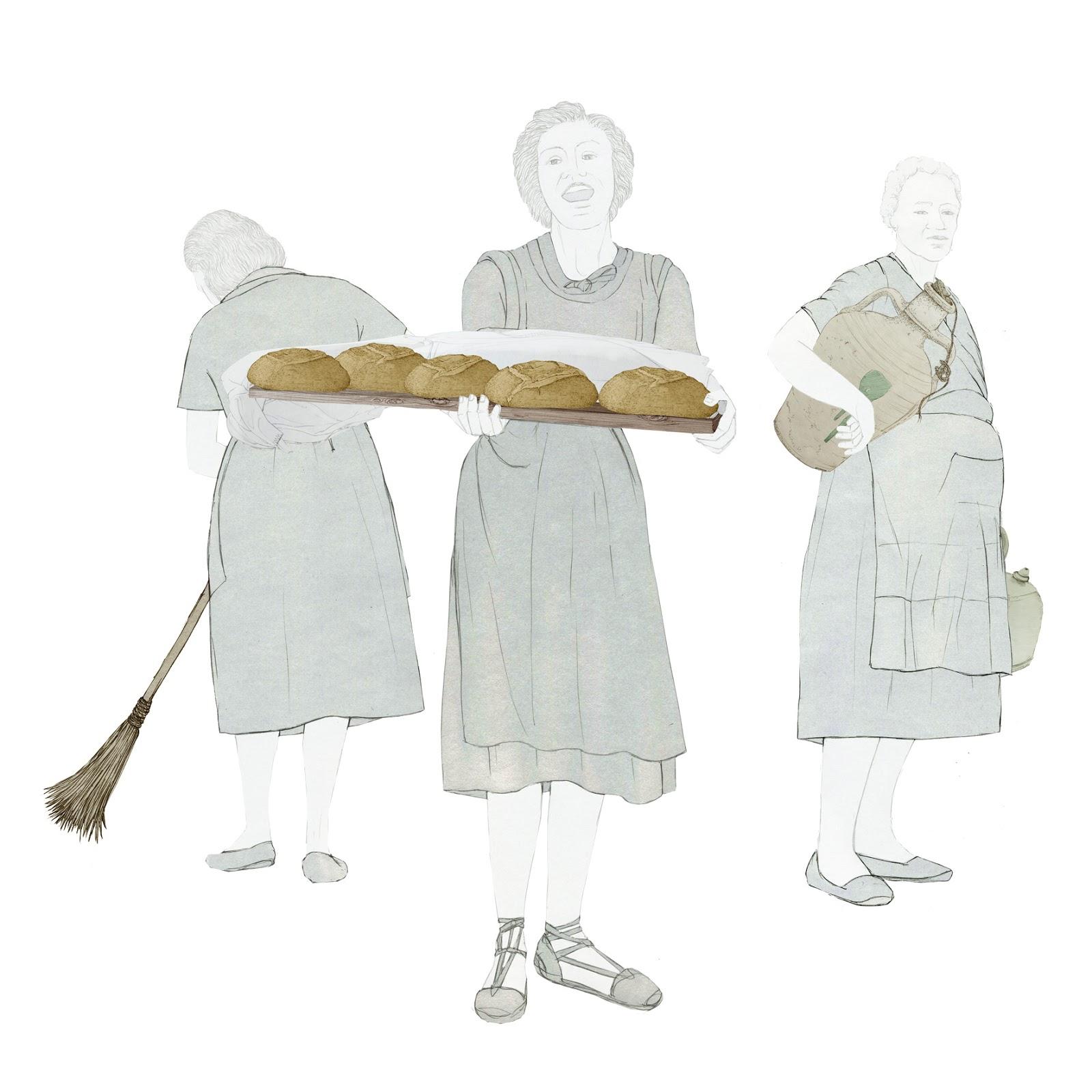 barrer, traer agua, hacer pan, tareas , mujeres, dibujo