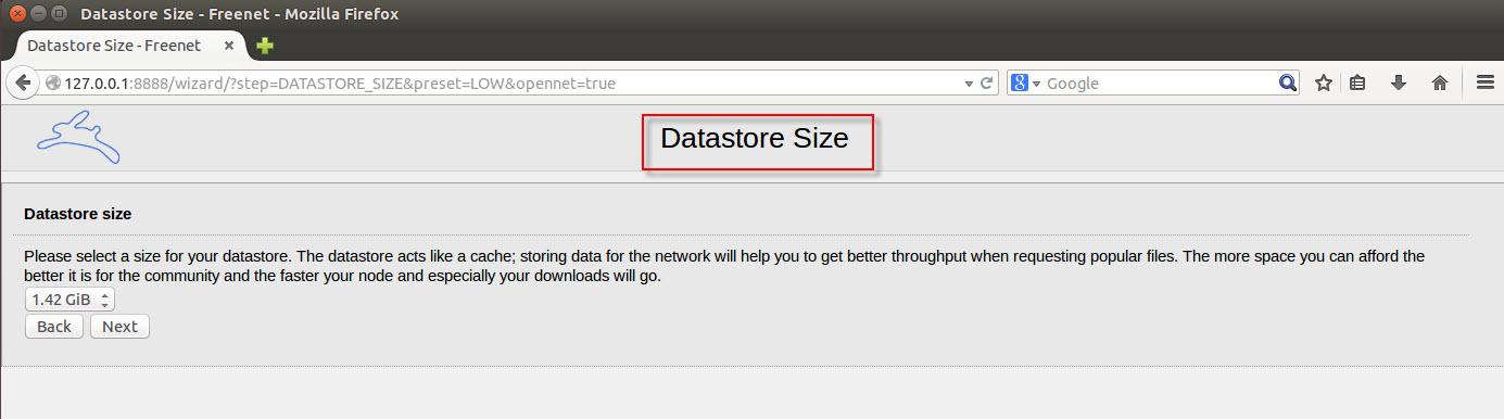 Datastore size