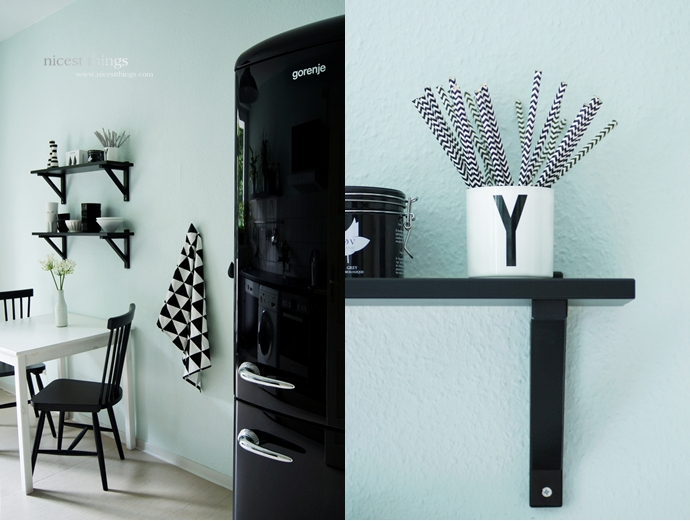 Kitchen In Mint, Black And White
