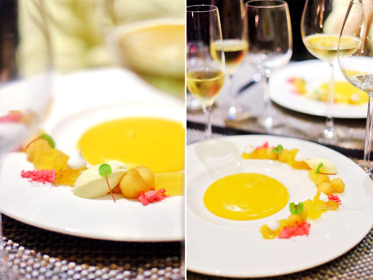 Mango Crème Moulée, Calamansi Gel, Apple Caramel (www.culinarybonanza.com)