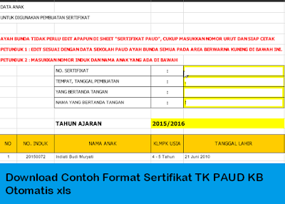 Download Contoh Format Sertifikat TK PAUD KB Otomatis xls