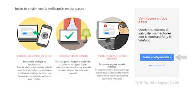 Iniciar configuración de la verificación de inicio de sesión en dos pasos de Google