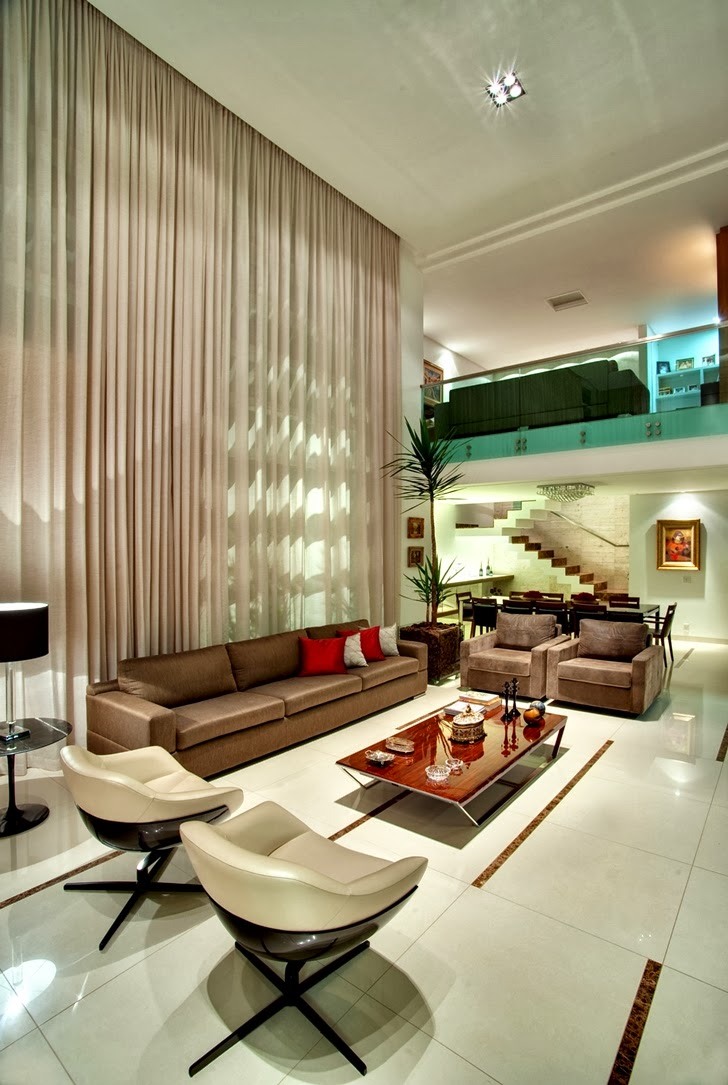 Living room in Modern Atenas 038 House by Dayala + Rafael Arquitetura
