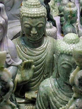 Green jade Buddha standing