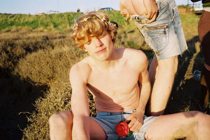 Blond boy with a pink rose and a crown of white flowers.