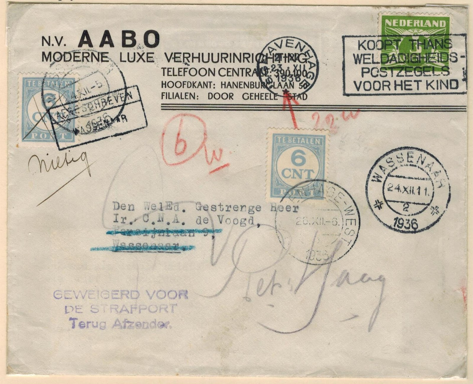 Netherlands Postal History Domestic Postage Due Mail 1925 1946