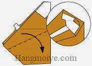 Bước 11: Từ vị trí mũi tên mở lớp giấy trên cùng ra, kéo và gấp tờ giấy xuống phía dưới.