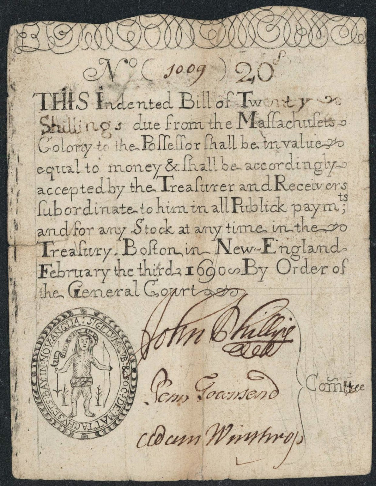Colonial Currency 20 Shillings Massachusetts Note 1690