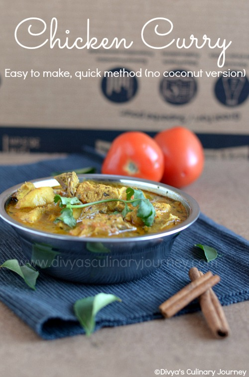 Divyas culinary journey chicken curry recipe made without coconut easy chicken curry forumfinder Gallery