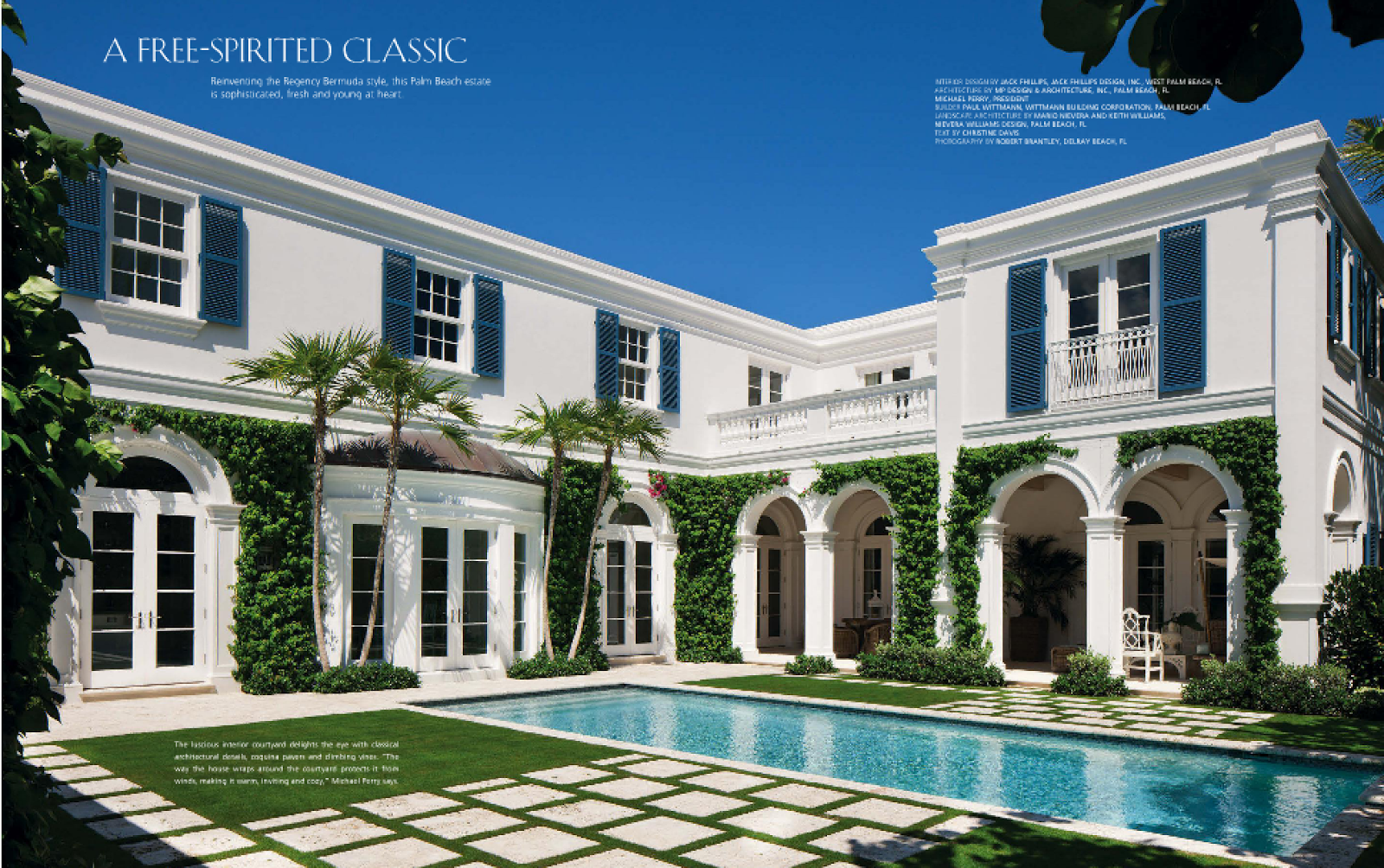 The glam pad a blue and white regency bermuda in palm beach for Classic architecture homes