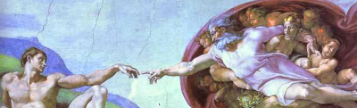 "Detail from Michelangelo's ""The Creation of Adam"""