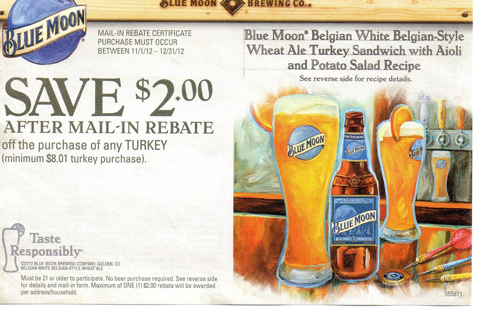 picture about Beer Coupons Printable titled Printable Discount coupons: Blue Moon Beer Rebate - Help you save $2 upon Turkey