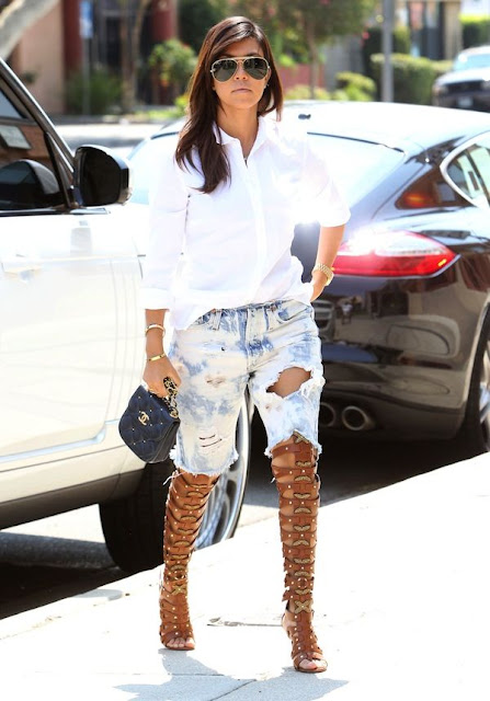lace up sandals Kourtney Kardashian street style