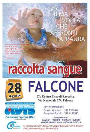 RACCOLTA SANGUE IL 28 AGOSTO A FALCONE NEL CENTRO FISSO IN VIA NAZIONALE, 174