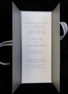 Gatefold wedding invitations out of Curious Metallic cardstock