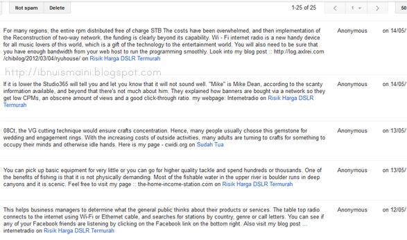 spam, comment, blogger spam, komen spam