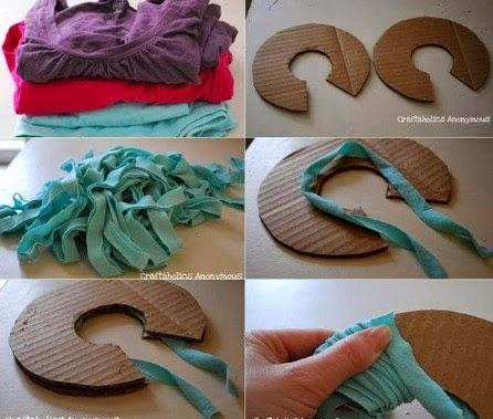 como hacer pompones de tela 2