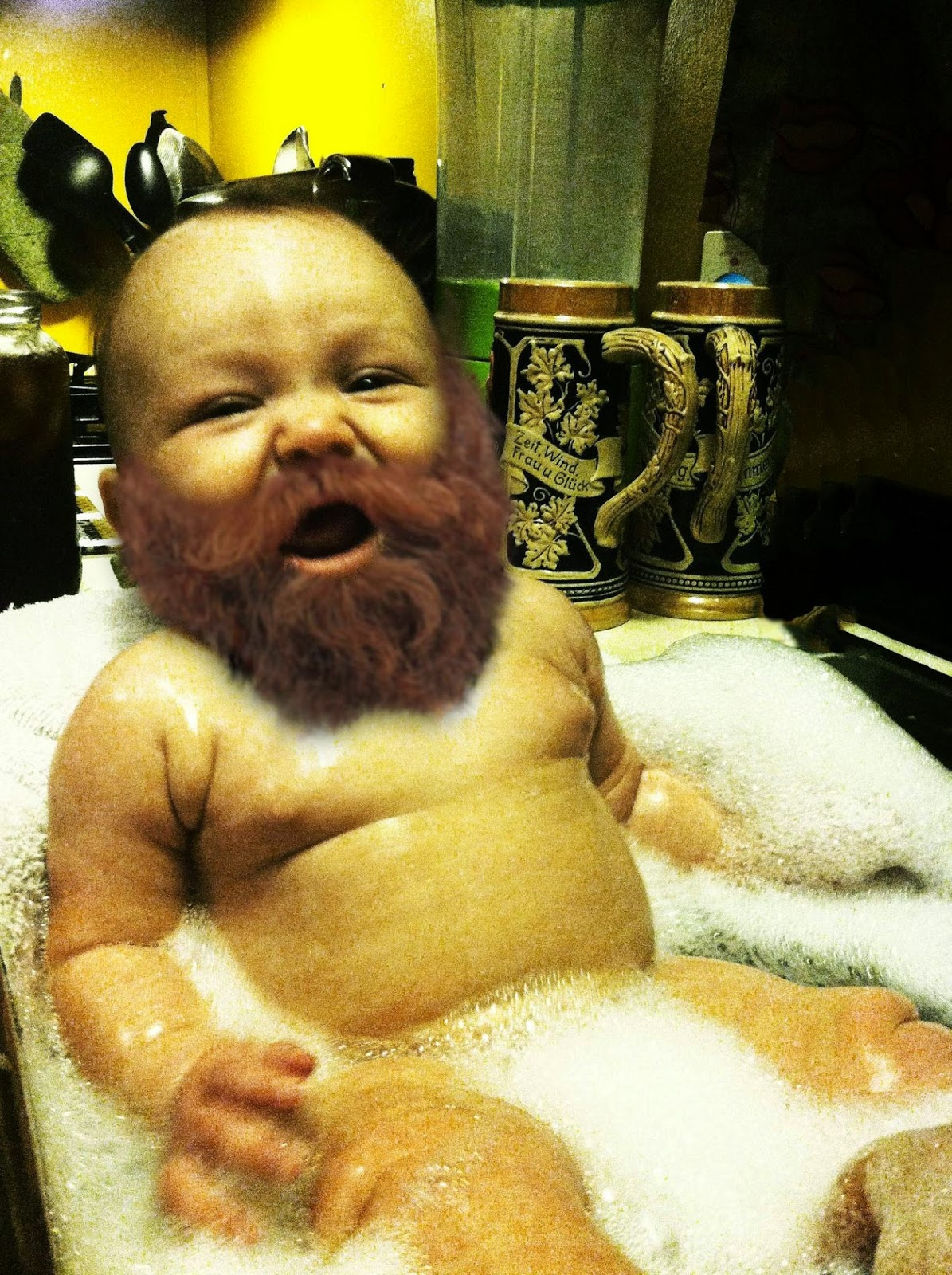 Gambar bayi lucu dan gokil berjenggot