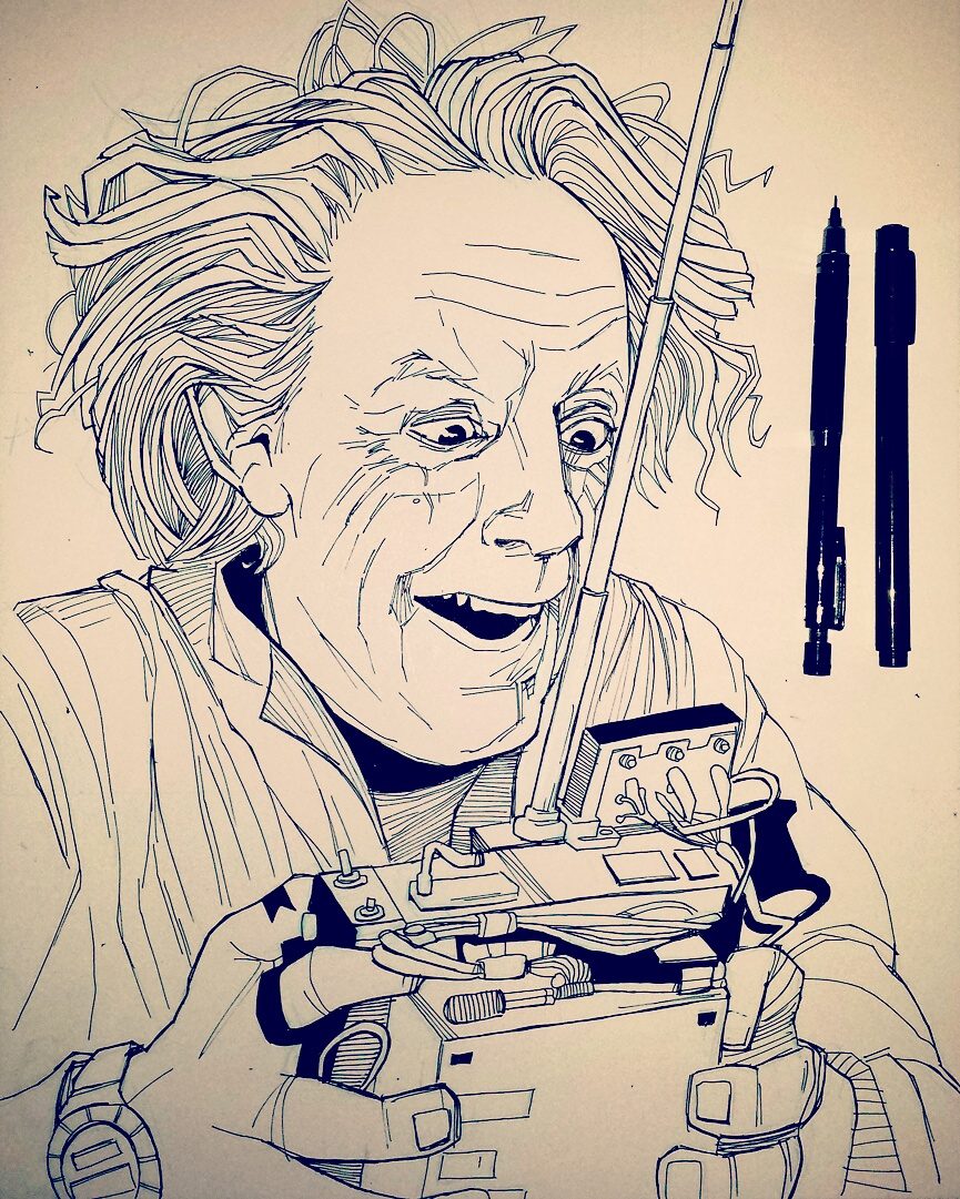 Christopher Lloyd as Doc Brown drawing