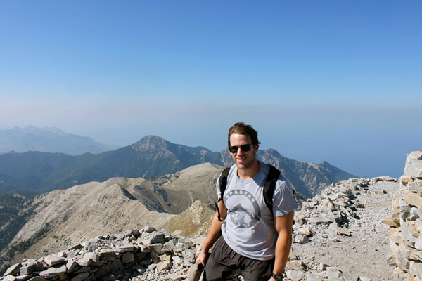 At the top of the highest peak in Sparta, Greece