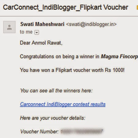 Runner Up in CarConnect contest by IndiBlogger: Day 87 of 100 Happy Days