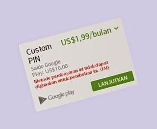 Saldo Google Play Gift Card Tidak Bisa Beli Langganan Custom PIN BBM