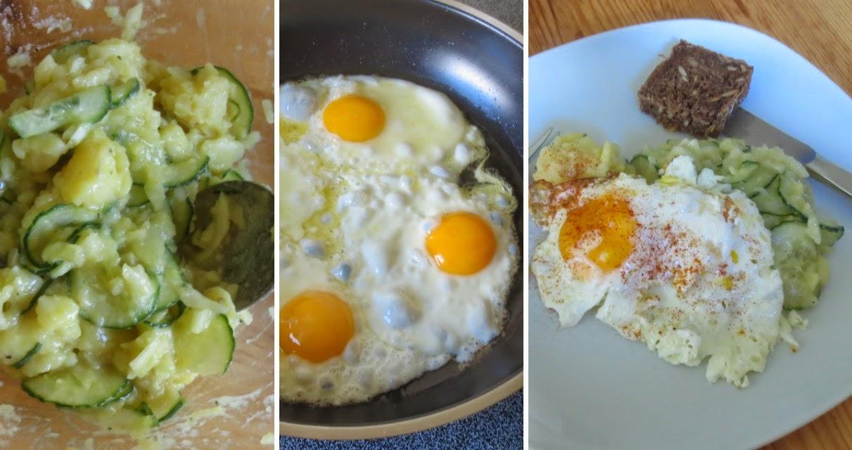 Resteverwertung mit Kartoffelsalat, Spiegeleier