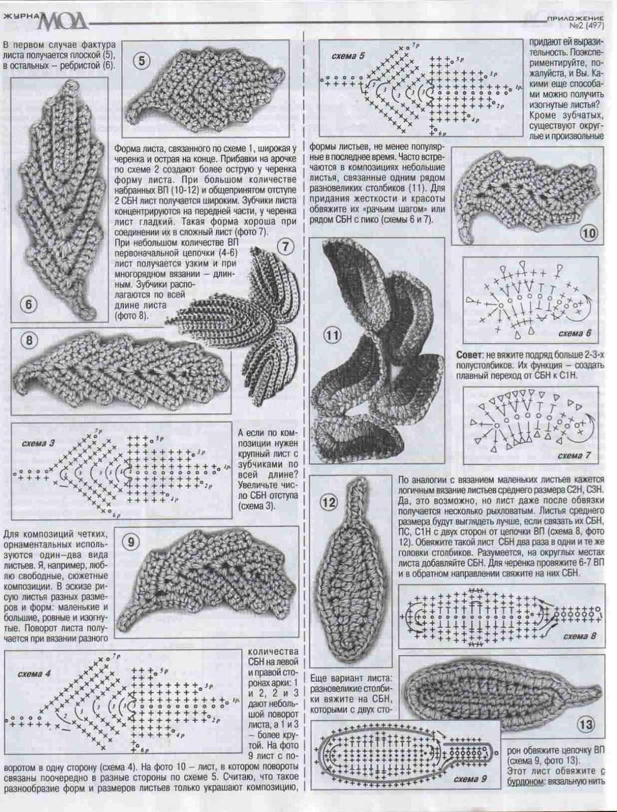 Вязание листик в ирландском кружеве 188