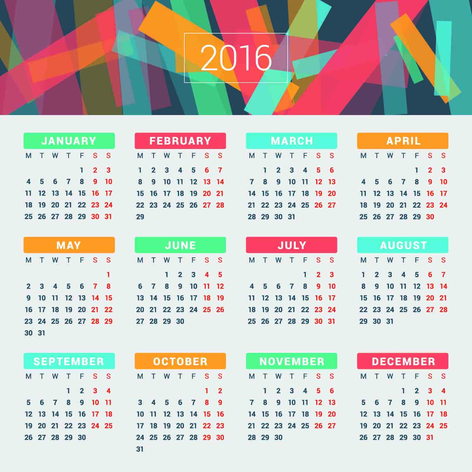 カレンダー カレンダー 2015 無料 テンプレート : 2016 Calendar-Year
