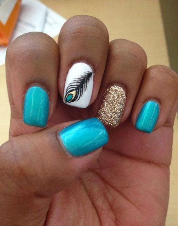 Blue, Black And White Nails