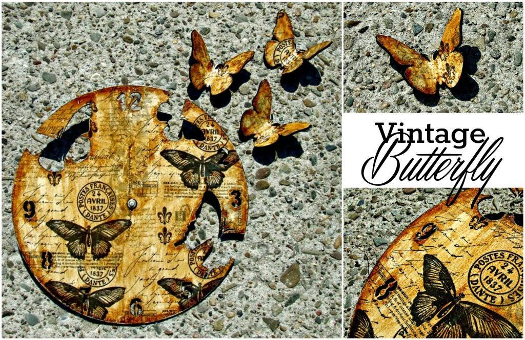 zegar decoupage vintage w motyle by Eco Manufaktura