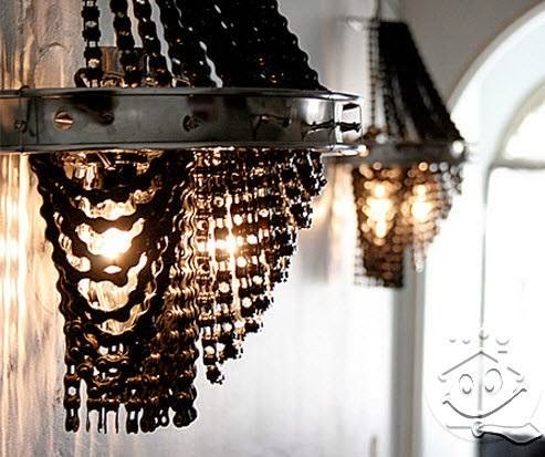 Amazing ceiling Light fixture made out Of Waste Bicycle chains