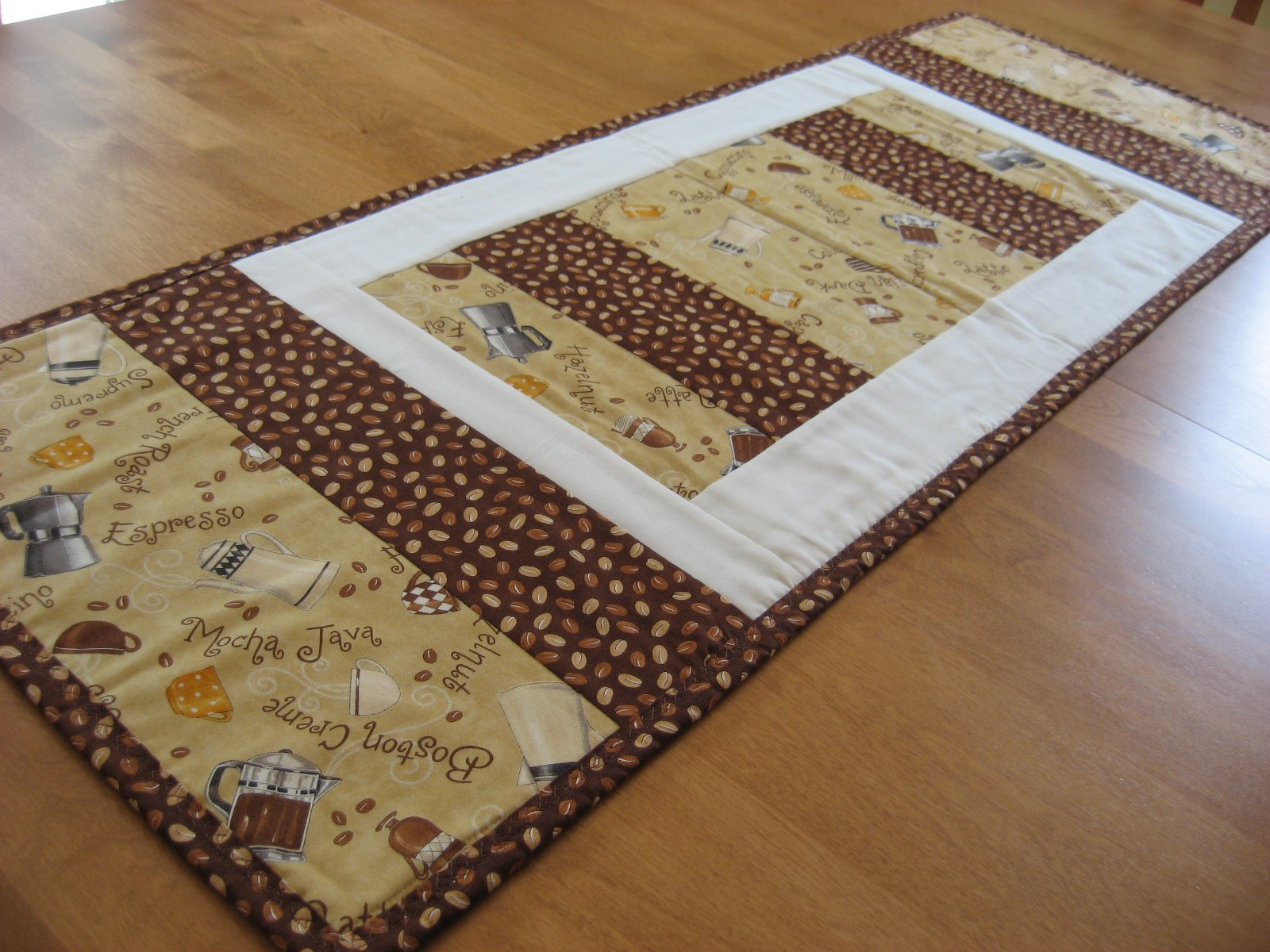 Hooked On Needles Java Table Runner Colorful Coffee Quilt For Your Table