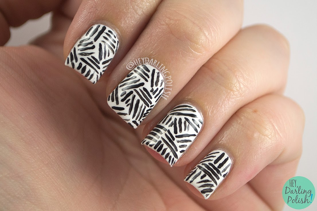 nails, nail polish, nail art, black, white, the nail challenge collaborative, hey darling polish, pattern
