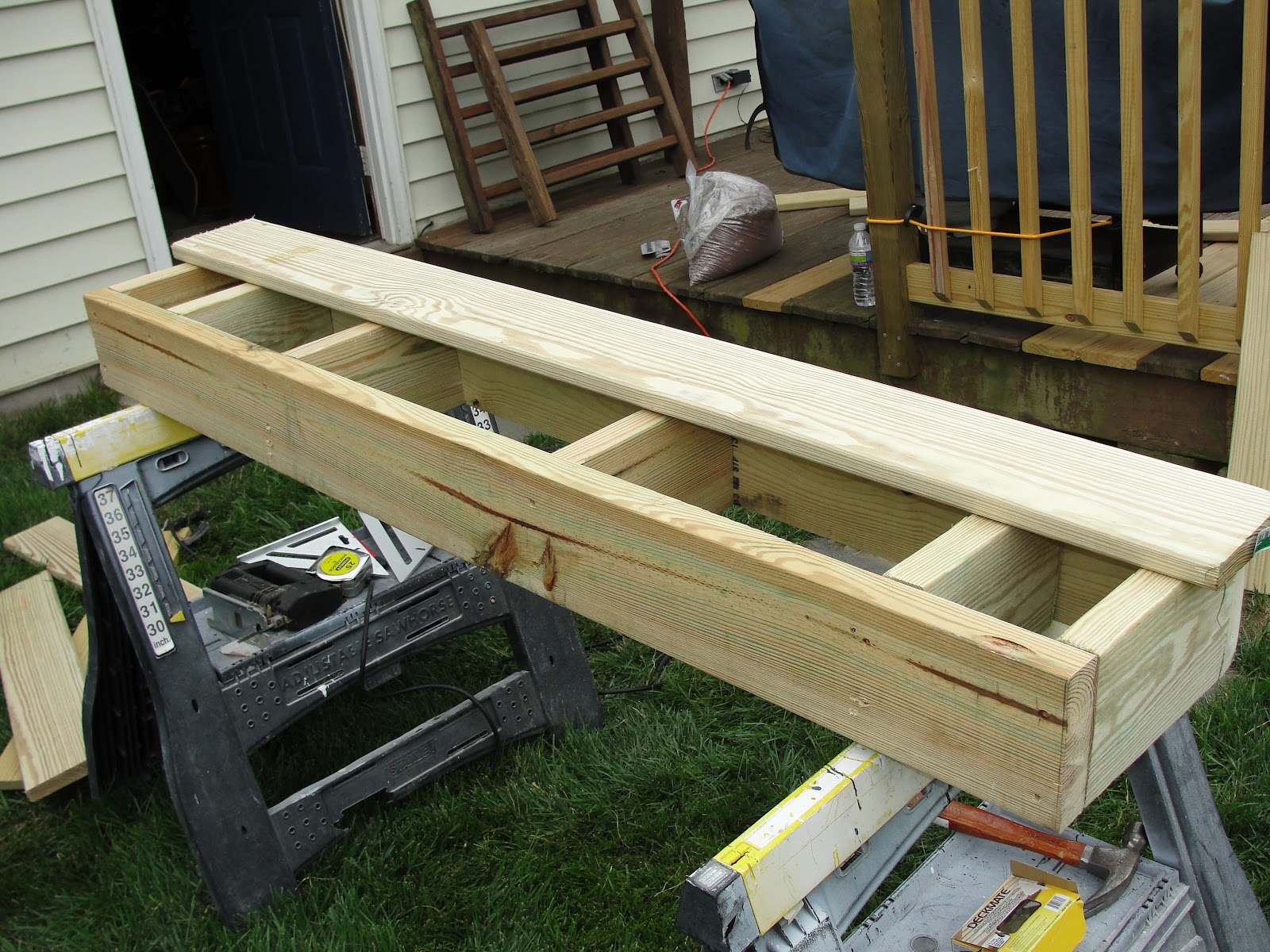 Lessons from the garden building a box step for the deck for How to frame a house step by step