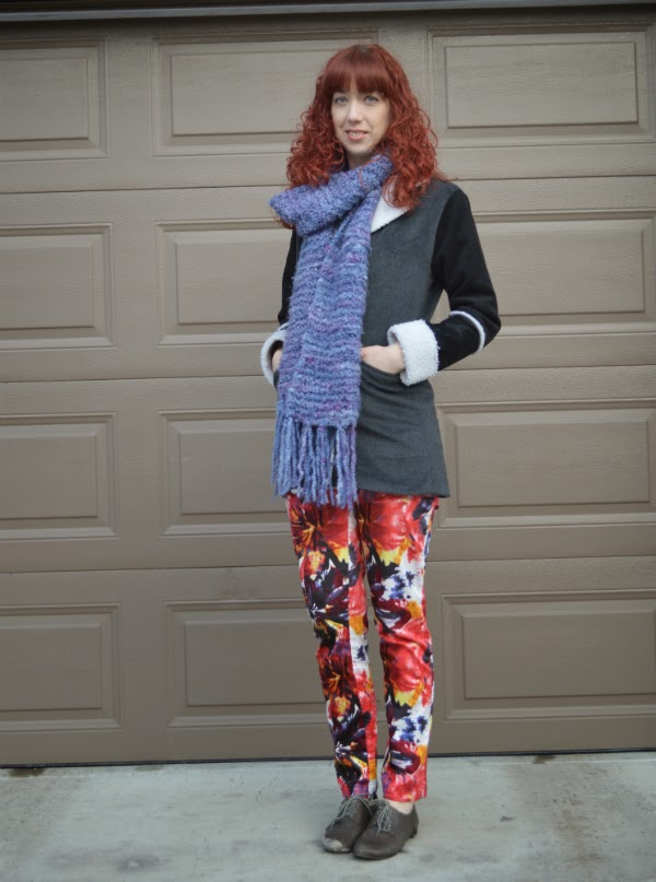 printed pants, knitted scarf, aldo shoes