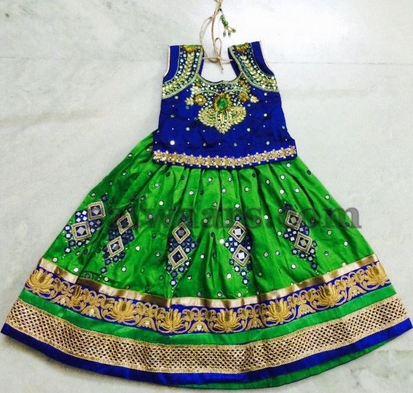 Mirror Work Green Lehenga
