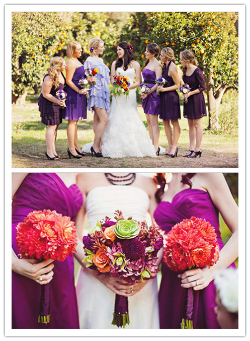 beautiful purple bridesmaid dresses