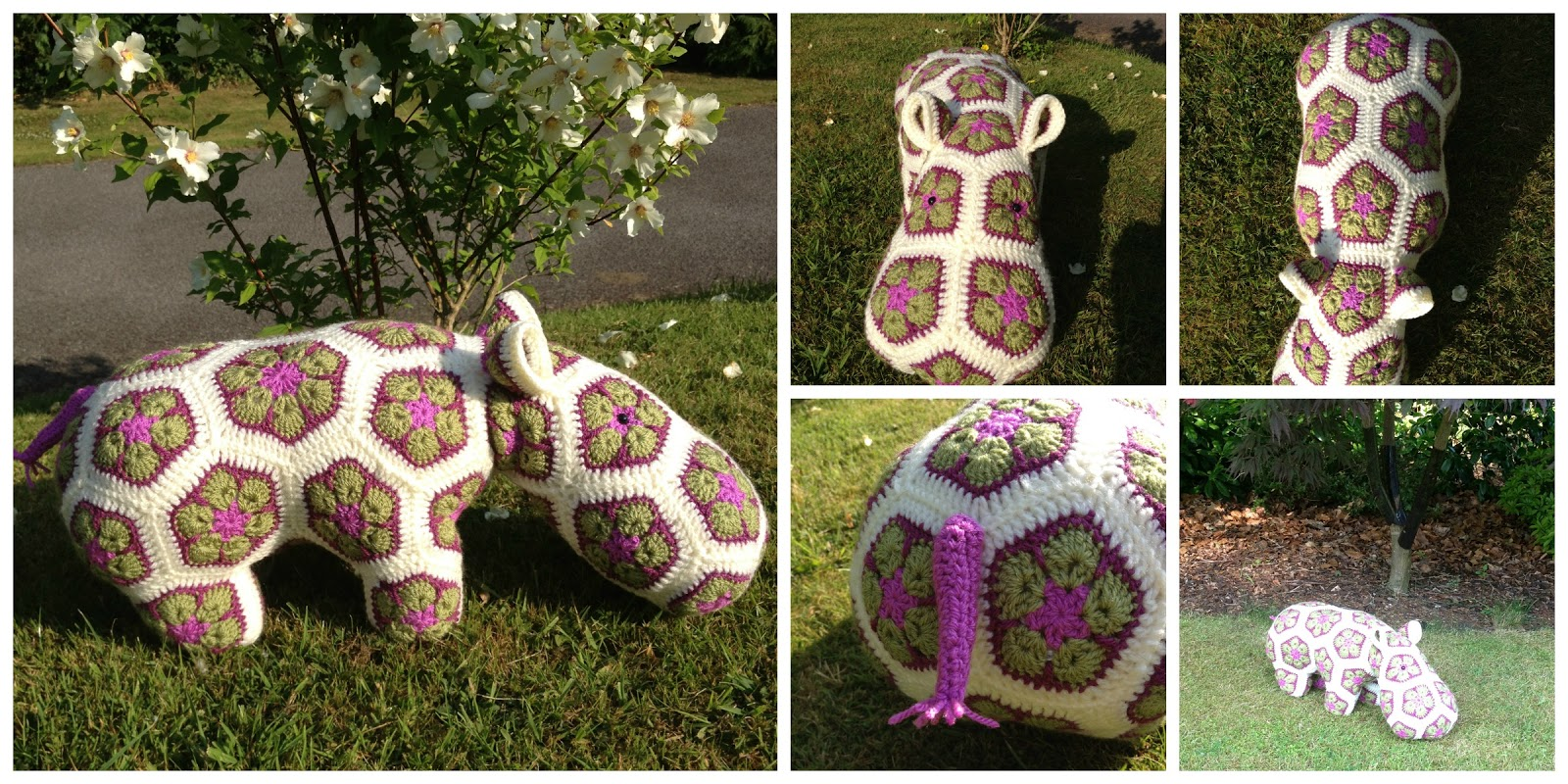 Crocheting at Timaru: African Flower Motif Hippo