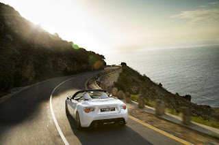 white ferrari car on road sea view