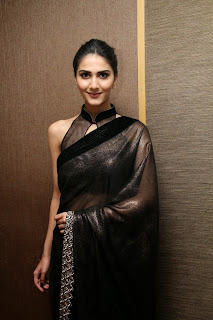vaani kapoor new  stills in black saree(5)