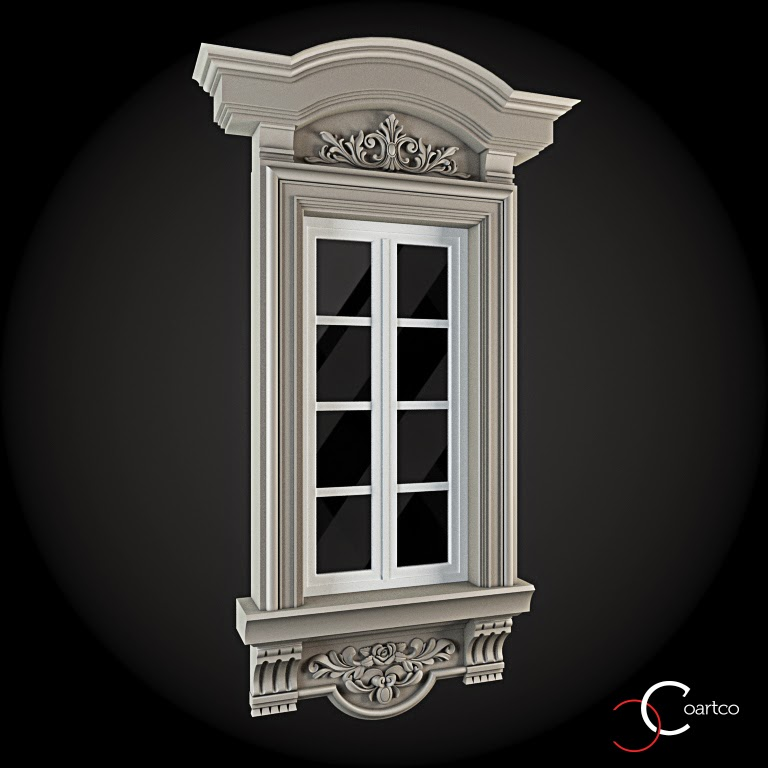 Ornamente Geamuri Exterior, fatade case cu profile decorative polistiren, profile fatada,  Model Cod: WIN-059