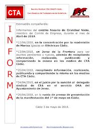 C.T.A. INFORMA CRÉDITO HORARIO CRISTOBAL NIETO, ABRIL 2018