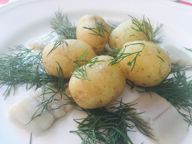 New potatoes, dill and pickled herring