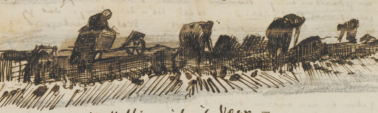 Women Working in the Peat drawing by Vincent van Gogh