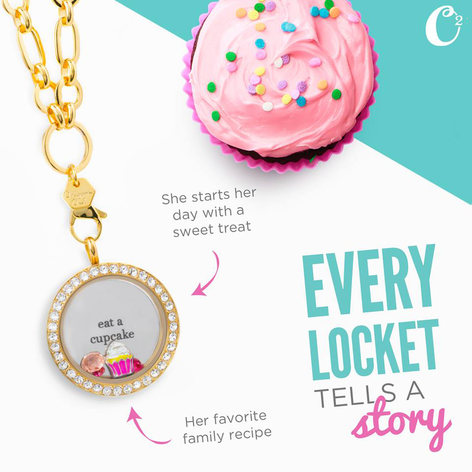 Cupcake Charm and Inscriptions Origami Owl available at StoriedCharms.com