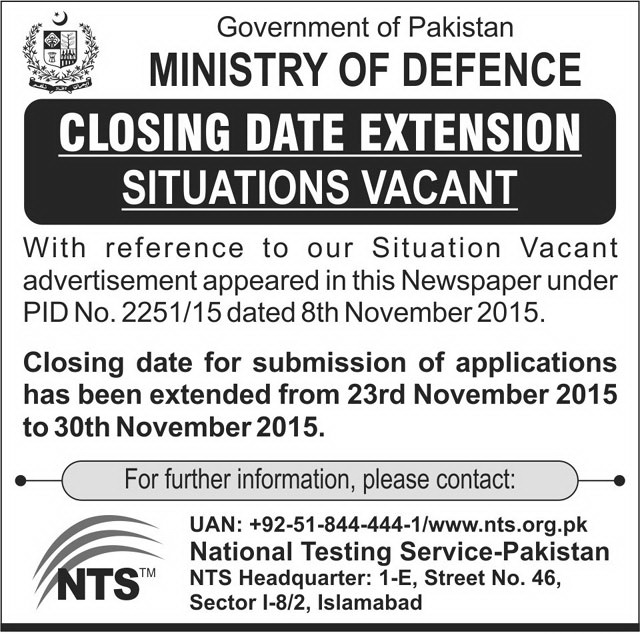 233 Jobs in Ministry of Defence Pakistan Date Extended till 30-11-2015