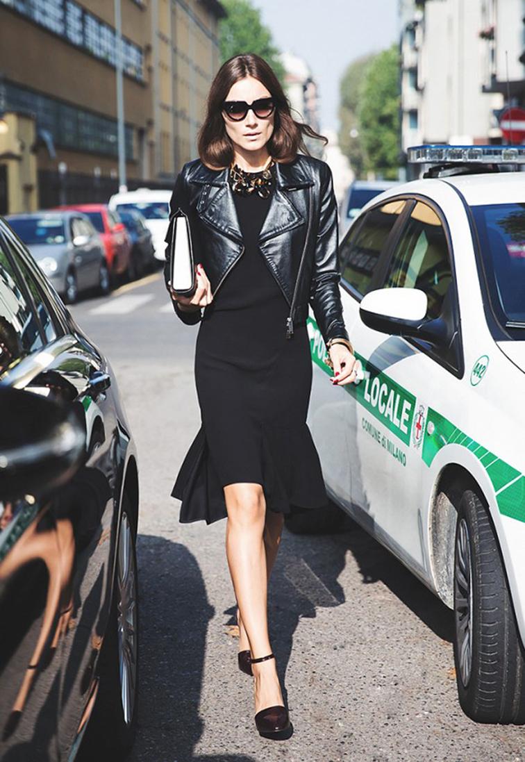 Giorgia Tordini, all blakc, leather moto jacket, street style, fashion week, style icon, muse