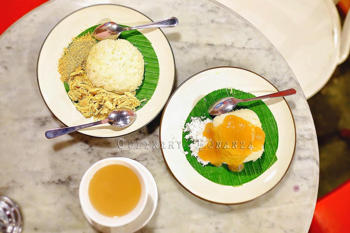 Ketan Srikaya (glutinous rice with srikaya custard) and Ketan Bumbu (glutinous rice served with shredded coconut and chicken)