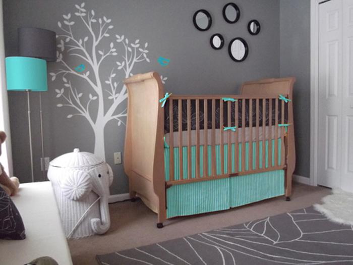 Cuarto de bebe en gris y turquesa for Decoracion habitacion bebe turquesa y gris